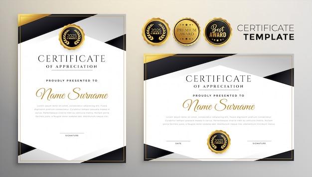 Stijlvolle set van twee sjabloon voor bedrijfscertificaat van prestatie
