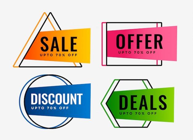 Stijlvolle set van verkoopaanbiedingen en deals labels