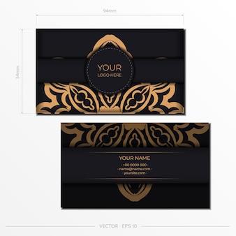 Stijlvolle sjabloon voor postkaarten met printontwerp zwarte kleur met vintage patronen. vector voorbereiding van uitnodigingskaart met grieks ornament.