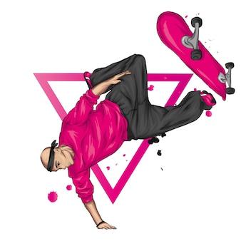 Stijlvolle skater in jeans en sneakers. skateboard.