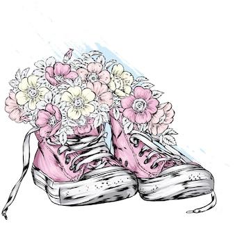 Stijlvolle sneakers en bloemen illustratie
