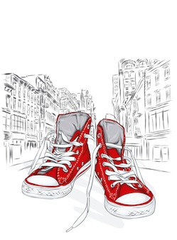 Stijlvolle sneakers op een stadsstraat