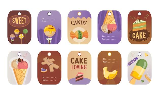 Stijlvolle speciale tag voor snoep of snoepwinkel. Gratis Vector