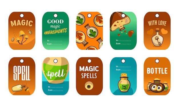 Stijlvolle speciale tagontwerpen voor magische winkel.
