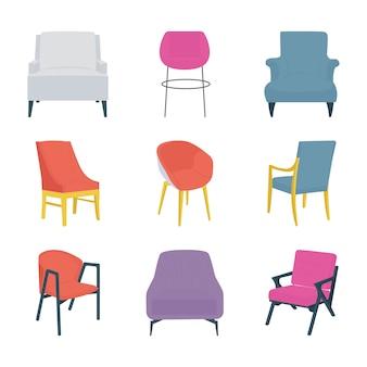 Stijlvolle stoelen vlakke pictogrammen