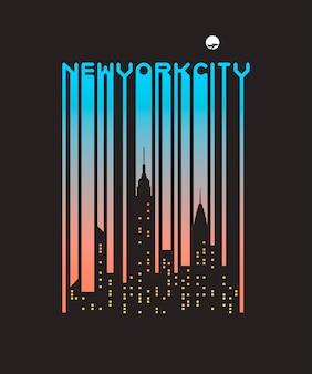 Stijlvolle streepjescodetekst van new york city met vensters