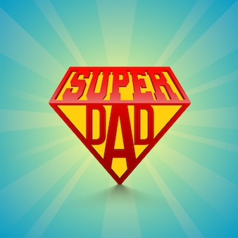 Stijlvolle tekst super day op blauwe stralen achtergrond. happy father's day viering concept.