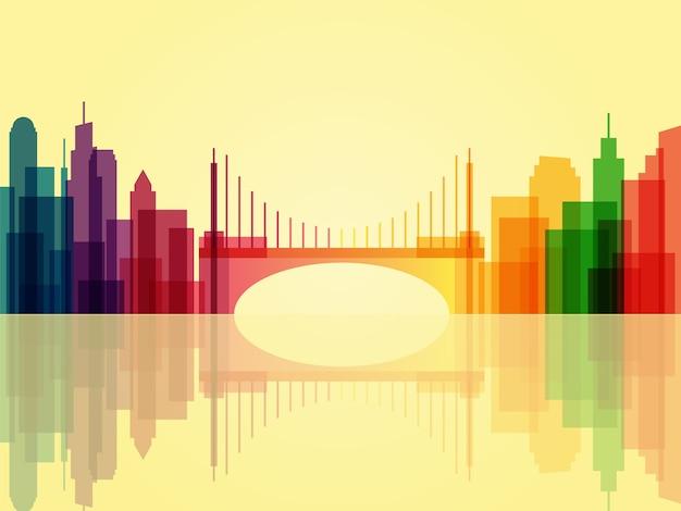 Stijlvolle transparante stadsgezicht achtergrond met brug en reflectie
