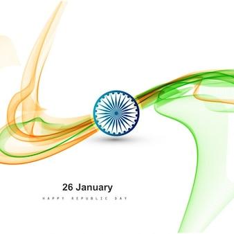 Stijlvolle tricolor golvende indiase vlag ontwerp