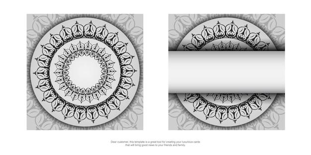 Stijlvolle vector sjabloon voor afdrukontwerp briefkaart witte kleur met luxe vintage ornament. een uitnodigingskaart voorbereiden met griekse patronen.