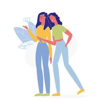 Stijlvolle vriendinnen nemen selfie vlakke afbeelding