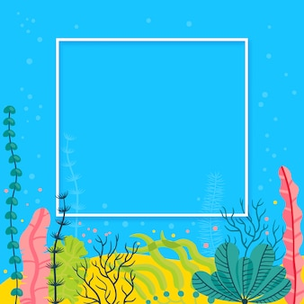 Stijlvolle zeebodem achtergrond met zeewier en plaats voor uw tekst. heldere mariene live banner