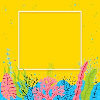 Stijlvolle zeebodem achtergrond met zeewier en plaats voor uw tekst. heldere vector mariene live banner