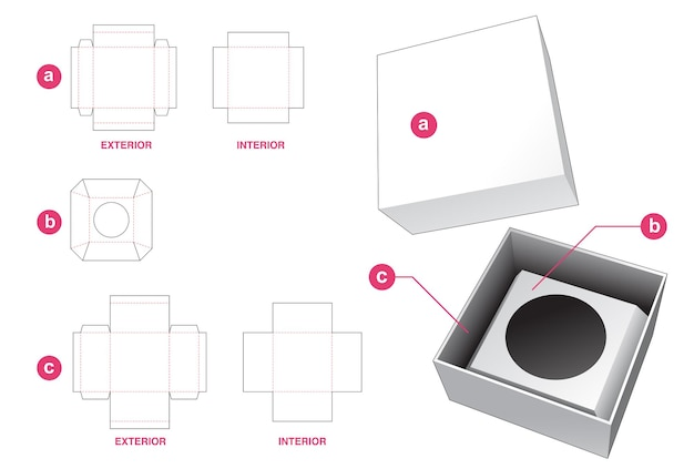 Stijve cosmetische doos met insteekdrager en gestanst dekselsjabloon