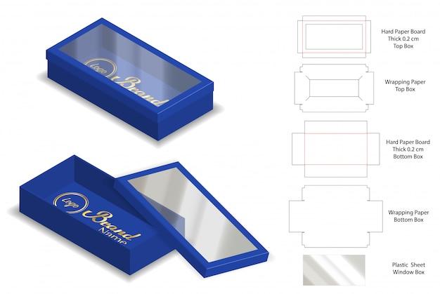 Stijve doos verpakking gestanst sjabloon 3d mockup