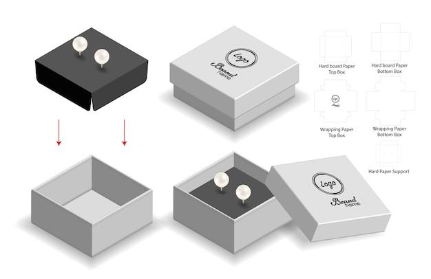Stijve doos voor oorbelmodel met dieline