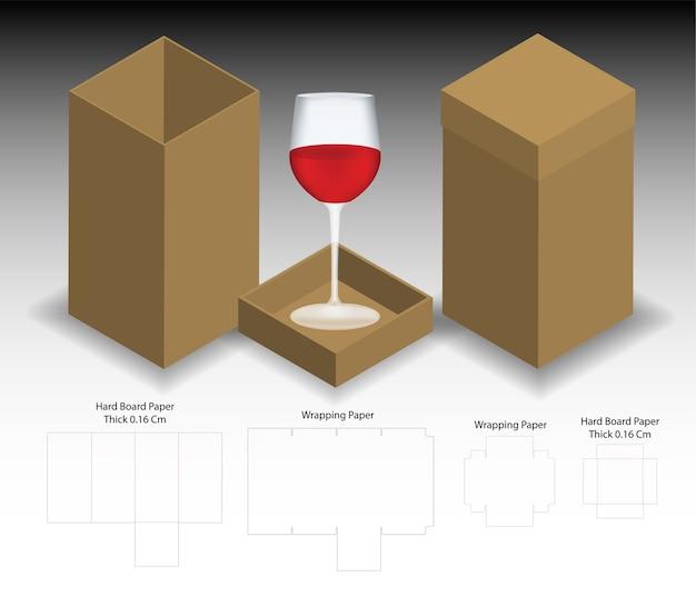 Stijve doos voor wijnglas mockup met dieline