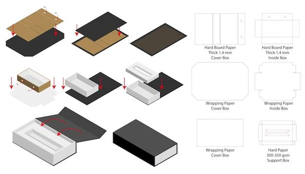 Stijve magneet doos sjabloon 3d mockup met dieline