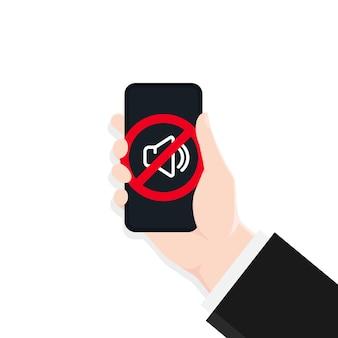 Stille modus van smartphone. spreker.