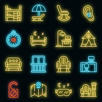 Stille ruimtes pictogrammen instellen. overzicht set van stille ruimtes vector iconen neon kleur op zwart