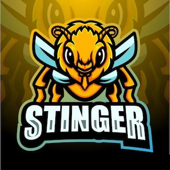 Stinger mascotte esport logo ontwerp