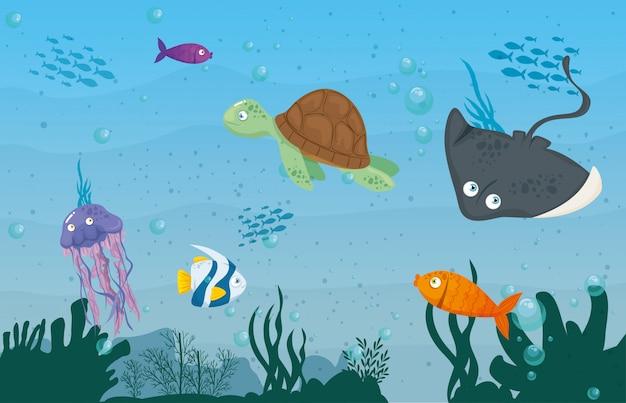 Stingray dierlijke marine in oceaan, met schattige onderwater wezens, habitat marine