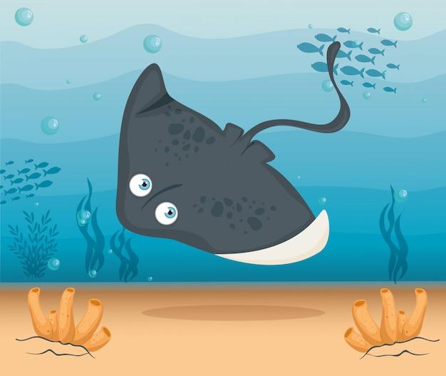 Stingray dierlijke marine in oceaan, zee wereldbewoner, schattig onderwater schepsel, habitat marine