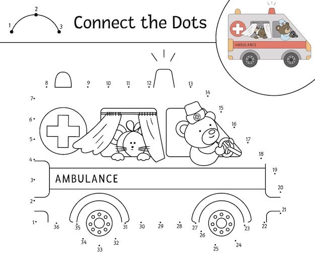 Stip om activiteit met ambulance en schattige dieren te stippelen
