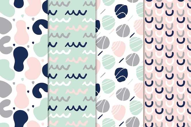 Stippen en golvende lijnen abstract hand getrokken patroon