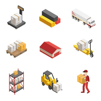 Stock logistics isometrische icon set