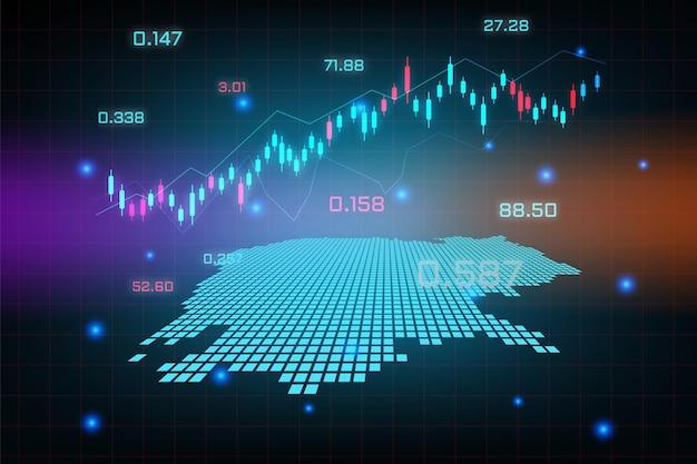 Stock market achtergrond of forex trading zakelijke grafiek grafiek voor financiële investering concept van cambodja kaart. bedrijfsidee en technologie-innovatieontwerp.