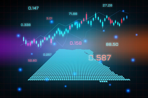 Stock market achtergrond of forex trading zakelijke grafiek grafiek voor financiële investering concept van egypte kaart.