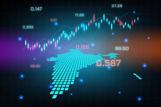 Stock market achtergrond of forex trading zakelijke grafiek grafiek voor financiële investering concept van india kaart. bedrijfsidee en technologie-innovatieontwerp.