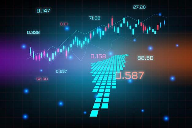 Stock market achtergrond of forex trading zakelijke grafiek grafiek voor financiële investering concept van israël palestina kaart. bedrijfsidee en technologie-innovatieontwerp.
