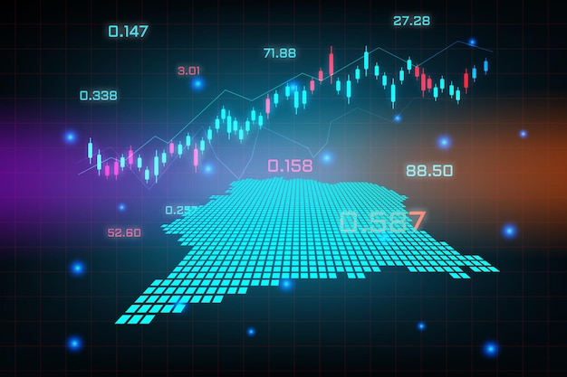 Stock market achtergrond of forex trading zakelijke grafiek grafiek voor financiële investering concept van ivoorkust kaart. bedrijfsidee en technologie-innovatieontwerp.