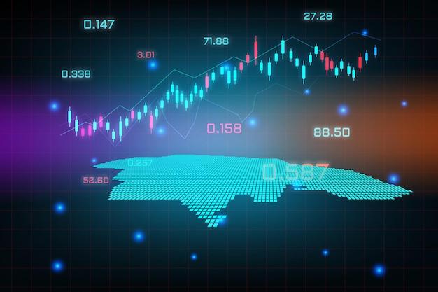 Stock market achtergrond of forex trading zakelijke grafiek grafiek voor financiële investering concept van jamaica kaart. bedrijfsidee en technologie-innovatieontwerp.