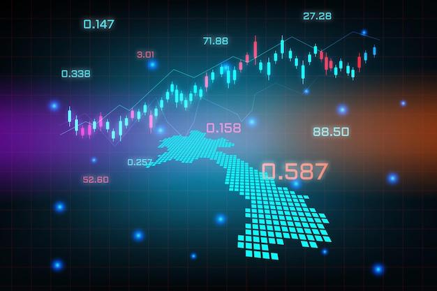 Stock market achtergrond of forex trading zakelijke grafiek grafiek voor financiële investering concept van laos kaart. bedrijfsidee en technologie-innovatieontwerp.