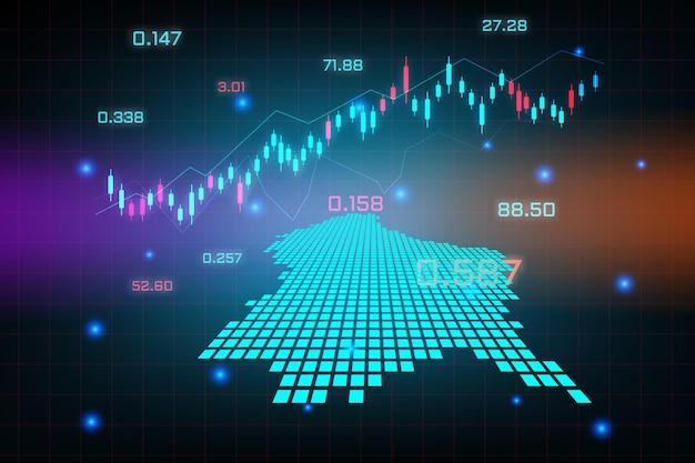 Stock market achtergrond of forex trading zakelijke grafiek grafiek voor financiële investering concept van luxemburg kaart. bedrijfsidee en technologie-innovatieontwerp.