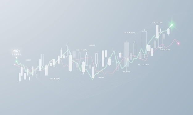 Stock market, economische grafiek met diagrammen, zakelijke en financiële concepten en rapporten, abstracte technologie communicatie concept achtergrond