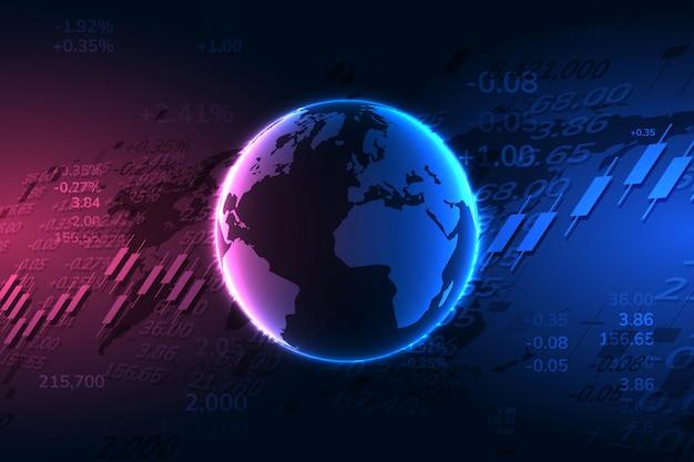 Stock market grafiek of forex trading grafiek voor zakelijke en financiële concepten