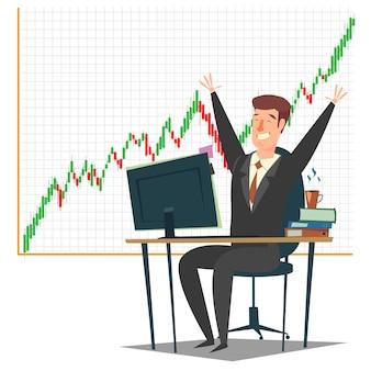Stock market, investeringen en trading concept illustratie