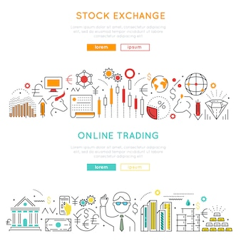 Stock market lineaire banners