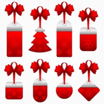 Stock set van rode kerst verkoop tag.