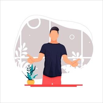 Stock verticaal, van, een, man, weergeven, duim omhoog, platte, illustration
