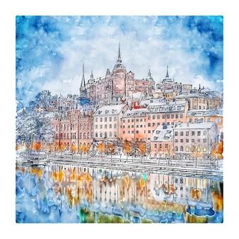 Stockholm zweden aquarel schets hand getrokken illustratie