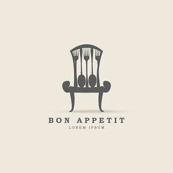 Stoel met lepel en vork logo