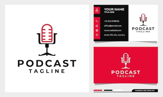 Stoel podcast mic logo-ontwerp met sjabloon voor visitekaartjes