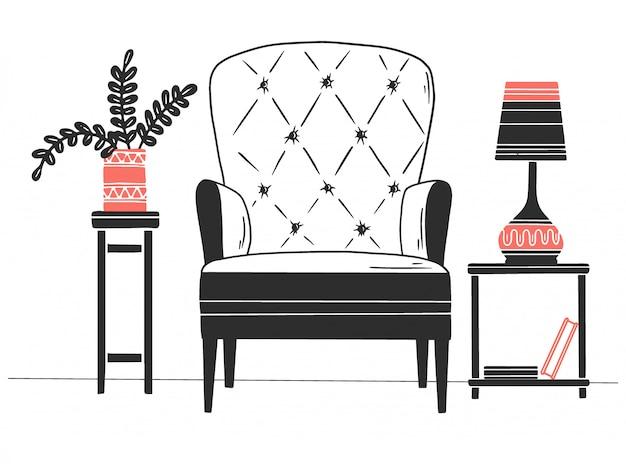 Stoel, tafel met lamp. hand getrokken vectorillustratie