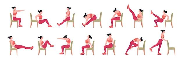 Stoel yoga houdingen stoel rekoefeningen set