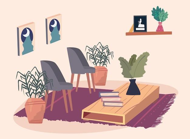 Stoelen en tafel home scenic